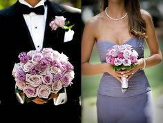 shades of purple, color, purple flowers, country weddings, purple wedding, country chic weddings, bridesmaid bouquets, purple roses, purple bouquets