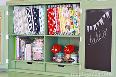 sewing machines, cabinet organization, sew room, sewing rooms, sewing studio, storage ideas, craft room storage, craft studios, craft rooms