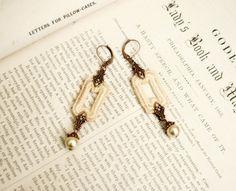 lace earrings GENA ecru   tinaevarenee on Etsy  #earrings #jewelry #fashion #pearls