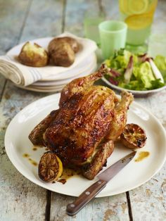 Jamie Oliver's beer-can chicken and baked potatoes