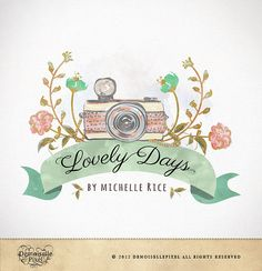 Photography Logo Custom Premade Watercolor Camera & Flowers Design for Photographers. $39.90, via Etsy.