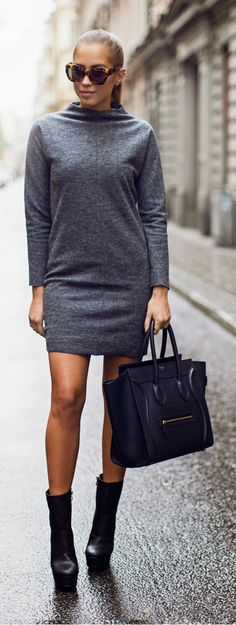 Daily New Fashion : Grey Dress + Black - Kenzas