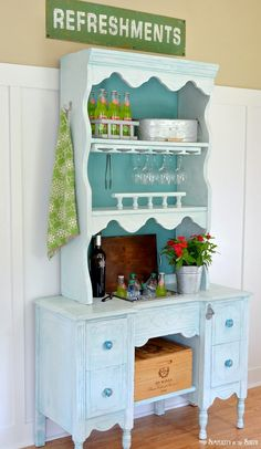 Convert a desk and hutch into a beverage station!