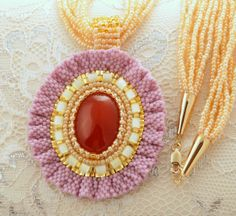 Moss Poppy - Glass Flower Pendant Necklace, Bead Embroidered, Beaded Pink Necklace, Carnelian with Gold Fill and Plate Details