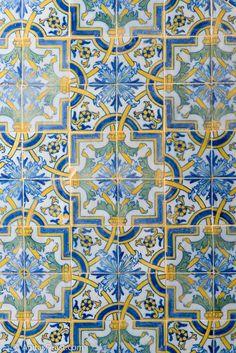 Detail of tile work in Museu Nacional do Azulejo, Lisbon, Portugal - Tiles, Azulejos