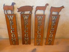 Rustic Rusty Rusted Recycled Metal FFA Pig Goat Heifer Lamb Vertical Welcome Sign on Etsy, $22.00
