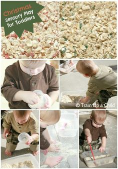 Peppermint scented oats - Christmas sensory play for toddlers