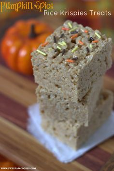 Pumpkin Spice Rice Krispies Treats - The flavors of fall in a delicious marshmallow treat by sweetasacookie.com
