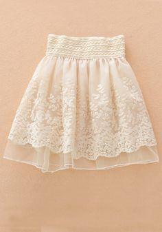 Apricot Embroidery Tiered High Waist Loose Chiffon Skirt