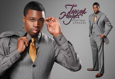 Tawni Haynes Custom Made Gold Pinstripe on Grey, Italian Wool 3 Piece Men's Suit.