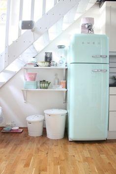 amazing - mint green fridge