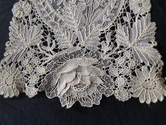 .Duchesse bobbin lace with point de gaze needle lace insert