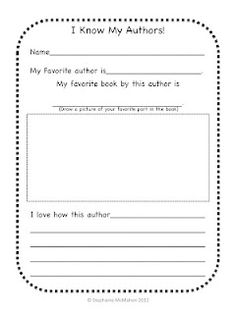 End of Year Favorite Author Sheet