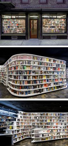 """The new St. Mark's Bookstore, NY. The retailer commissioned Clouds Architecture Office who put particular focus on that key part of any bookshop, the shelving.""""The book shelving is designed to stimulate the ocular experience,"""" they add. """"Vertical supports are pulled back to pronounce the horizontal edges of the shelving. Sharp corners are eliminated, smoothed into a continuous series of horizontal bands, which allow the eye to glide around the space without visual friction."""""""