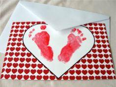 Footprint Valentine Card - cute poem inside!