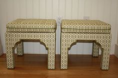 Pair upholstered Mid Century style Pagoda bench stool by WWBdesign, $875.00