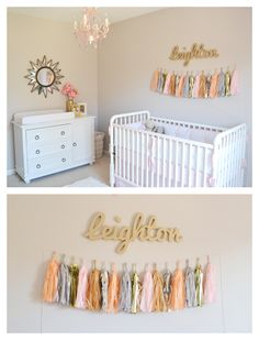 Love the pops of gold in this pink nursery!