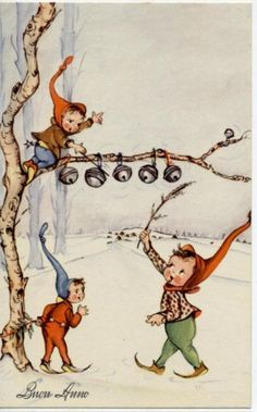 New Year Elf Gnome plays Music Snow Vintage PC Circa 1940