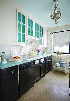 Black Lower Cabinets, White Upper Cabinets, Wallpaper, Chandelier - This is my favorite kitchen!