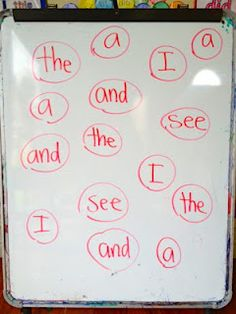 Split class into 2 teams.  Teacher writes words on whiteboard.  One person from each team gets an eraser.  Teacher calls out a word. First team to erase the word gets a point.