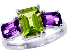 Amethyst and peridot ring