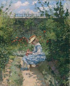 Jeanne Pissarro, Called Minette, Sitting in the Garden, Pontoise, ca 1872, Camille Pissarro French Impressionist, Pointillist Painter (1830-1903)