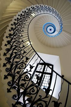 The Tulip Stairs, inside the Queen's House, Greenwich Park in London.