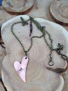 Antique Fleur De Lis Heart Stamped Necklace
