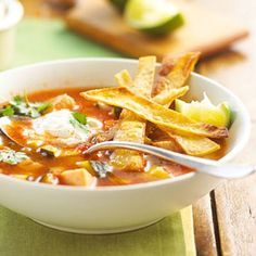 Tortilla Soup -- Perfect for leftover turkey or chicken! Make soup in just 20 minutes by adding  salsa, chicken broth and tortilla chips.