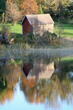 Reflection of old barn.