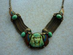 RARE Art Deco, Egyptian Revival Czech glass necklace 1920's GORGEOUS! | eBay