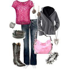 fashion, cloth, pink cowboy boots outfit, rock candi, date outfits, candies, brown cowboy boots outfit, rock candy, closet