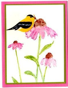 handmade card ... watercolor look of corn flowers ... two-step bird looks like a goldfinch ... lovely card ... Stampin' Up!
