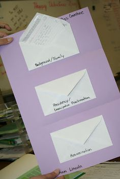 Organizing Research Notes for Expository Writing [Each envelope represents a subtopic.  Inside the envelopes, students tuck pieces of support or facts for that particular subtopic.  Folds up and fits in writing folders.] {Stacy Shubitz @Marisela Carranco} {Two Writing Teachers}