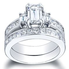 Channel set bridal set - 2.50ct Emerald Cut Diamond Engagement Ring and Wedding Band - $3300  #engagement #engagementrings #jewelry #artdeco #weddings #uniqueengagementrings