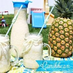 Caribbean Slush ....pineapple juice, cream of coconut, country time lemonade, frozen bananas, & sparkling water ! Yum !!!