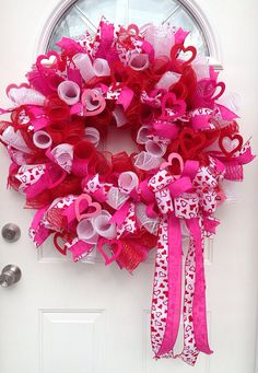 """Mesh Valentines Wreath """"Lots of Love"""" on Etsy, $60.00"""