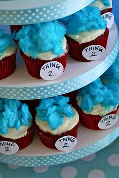 twin, cotton candy, birthday parties, second birthday, party cupcakes, 2nd birthday, red velvet cupcakes, parti idea, cream cheese frosting