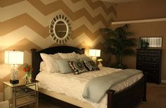 Master bedroom idea, love the chevron. not sure about a whole wall, but could do a big canvased frame (offset straight stripe duvet #WestElm)