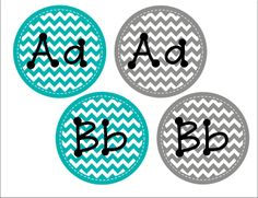 Simple Teal and Grey Word Wall Letters