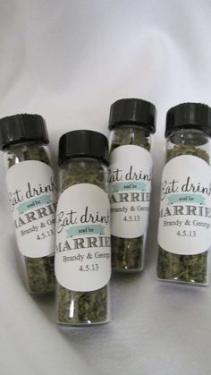 Wedding Favors Eat Drink and be Married tea or spices