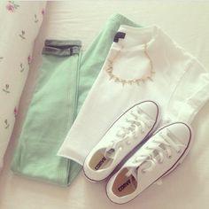 Mint jeans + Converse