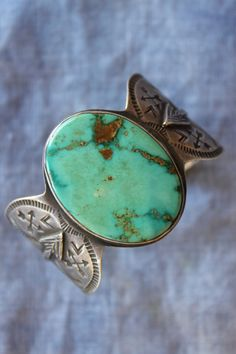 Vintage Navajo detailed stamping turquoise cuff
