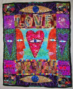 """ButtonArtMuseum.com - Love and Passion original """"Art Quilt"""" by STUCKY"""