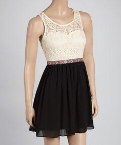 Look what I found on #zulily! Black & Cream Overlay Sweetheart Dress #zulilyfinds