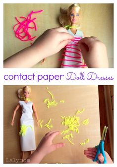 Contact Paper Doll Dresses for Barbie and other figures. Great pretend play and fine motor skills practice!