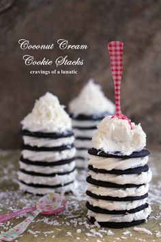 Coconut Cream Cookie Stacks | Cravings of a Lunatic | Super easy to make and absolutely delightful to serve to guests! coconut whip, coconuts, cup heavi, cream cooki, cooki stack, coconut cream, crave, cup shred, coconut extract
