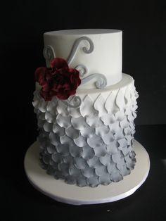 Grey Ombre Petal Cake lemon cakes, cake idea, color, grey ombré, wedding cakes, elegant ombre cakes, ombre fondant cake, ombr petal, petal cakelov