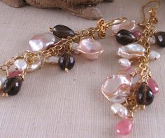 ALMOND BLOSSOM pearl and gemstone earrings  $38