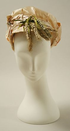 Hat, ca. 1800, French. Silk, raffia, metal. In the Metropolitan Museum of Art costume collection.
